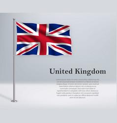 Waving flag united kingdom on flagpole vector