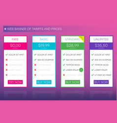 Web banner tariffs and prices vector