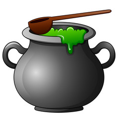 witch cauldron cartoon vector image