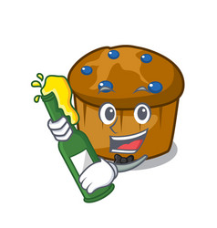 with beer mufin blueberry mascot cartoon vector image
