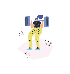 Woman doing squats with barbell drawing vector