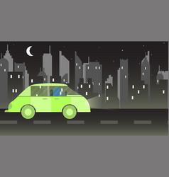 woman drives a green car in saudi arabia at night vector image