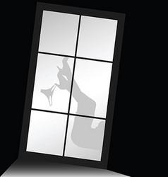 Woman legs with underwear front of window vector