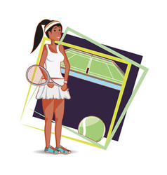 woman playing tennis character vector image