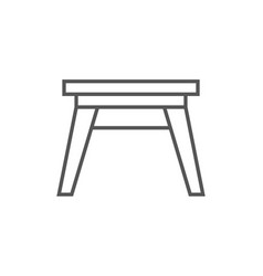 Wooden stool isolated icon in linear style vector