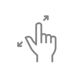 Zoom with two fingers line icon touch screen hand vector