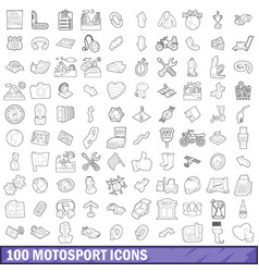 100 motosport icons set outline style vector image