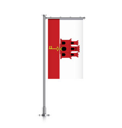 flag of gibraltar hanging on a pole vector image