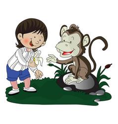 girl giving banana to monkey vector image