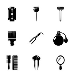 hairdresser tools icons set simple style vector image vector image