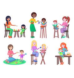 happy mothers feeds little kids flat set vector image