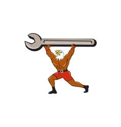 American Bald Eagle Mechanic Spanner Cartoon vector image
