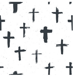 Cross symbols seamless pattern grunge hand drawn vector