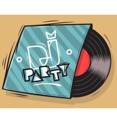 DJ Party Poster Design With Vinyl Record Package vector image vector image