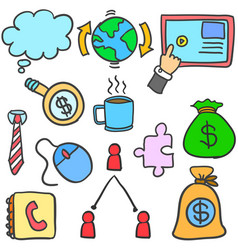 Doodle of element business various collection vector