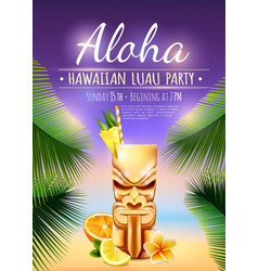 hawaiian luau party poster vector image