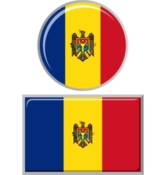 Moldovan round and square icon flag vector image vector image