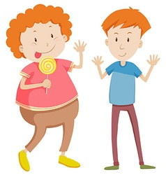 Opposite adjectives thin and fat vector image