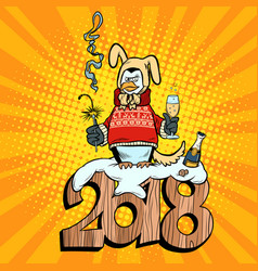 2018 new year penguin suit yellow earth dog vector image vector image