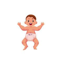 flat newborn cute baby boy in diaper vector image vector image