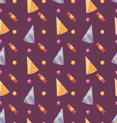 Seamless Funny Texture with Party Hats and Sweets vector image vector image