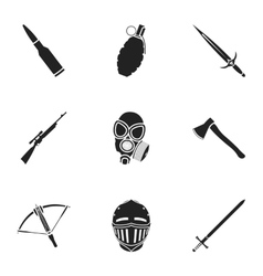 Weapon set icons in black style Big collection of vector image