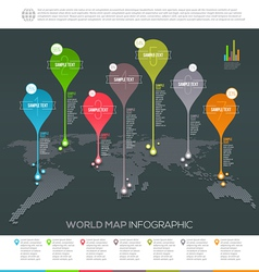 World map infographic with map pointers vector image vector image