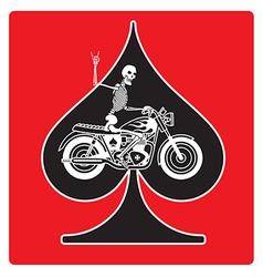 Ace of Spades with Skeleton Biker design vector image vector image