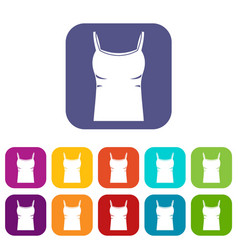 blank women tank top icons set flat vector image