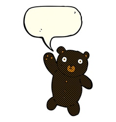 cartoon cute black teddy bear with speech bubble vector image