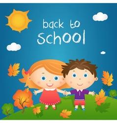 Cartoon of happy little girl and boy in autumn vector image vector image