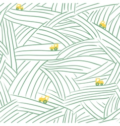 farm seamless pattern with field and tractor vector image