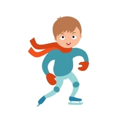 Pretty cheerful little boy thermal suits skating vector
