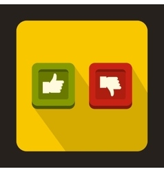 Thumbs up and down buttons icon flat style vector