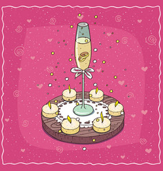 wedding rings in glass of champagne or wine vector image