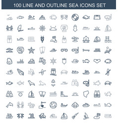 100 sea icons vector image