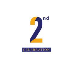 2nd anniversary celebration orange blue template vector