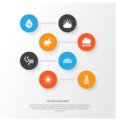 Air icons set collection of colors breeze night vector