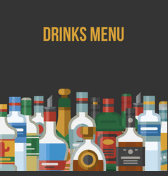 Alcohol drinks menu poster vector