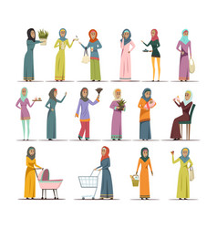 arabic woman icons set vector image