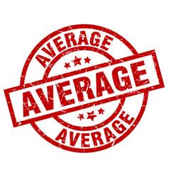 Average round red grunge stamp vector