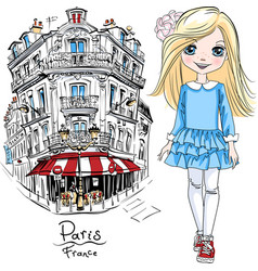 bagirl in paris vector image