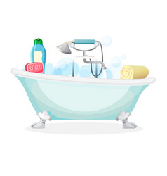 Bath tub isolated full of foam with bubbles vector