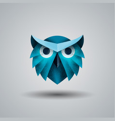 blue owl with a halftone texture vector image
