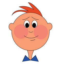 Boy with red cheeks on white background vector