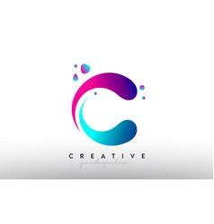 C letter design logo rainbow bubble gum letter vector