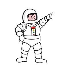 Cartoon astronaut standing pointing vector