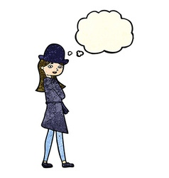 Cartoon female spy with thought bubble vector