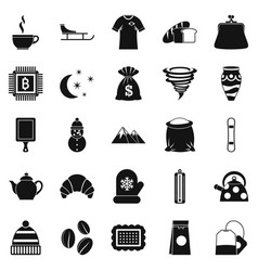 coffee cup icons set simple style vector image