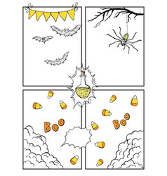 Comic blank layout template halloween background vector